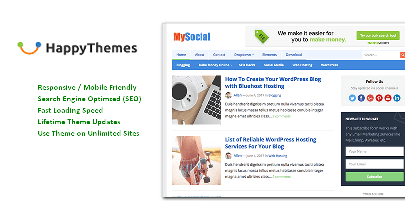 MySocial Premium theme from HappyThemes