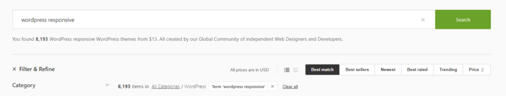 wordpress responsive search results