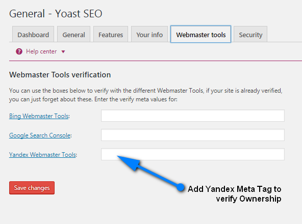 add code in Yandex webmaster tools