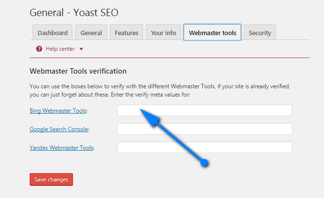 bing webmster tool verification