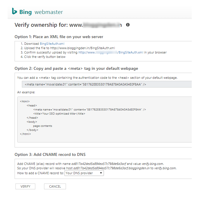 verify ownership in Bing webmaster