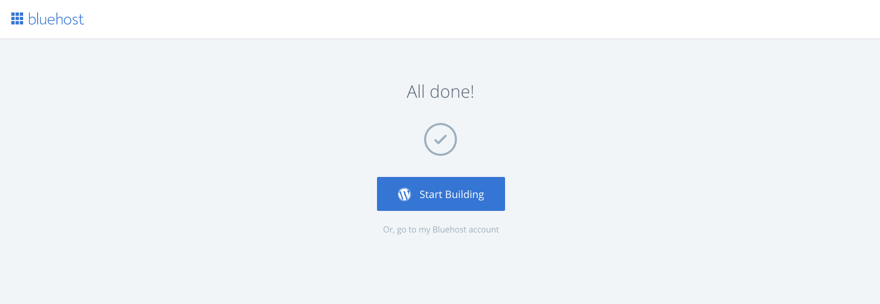 Start building in Bluehost