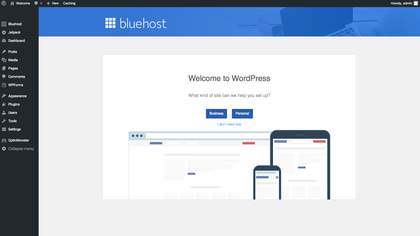 Wordpress Dashboard bluehost