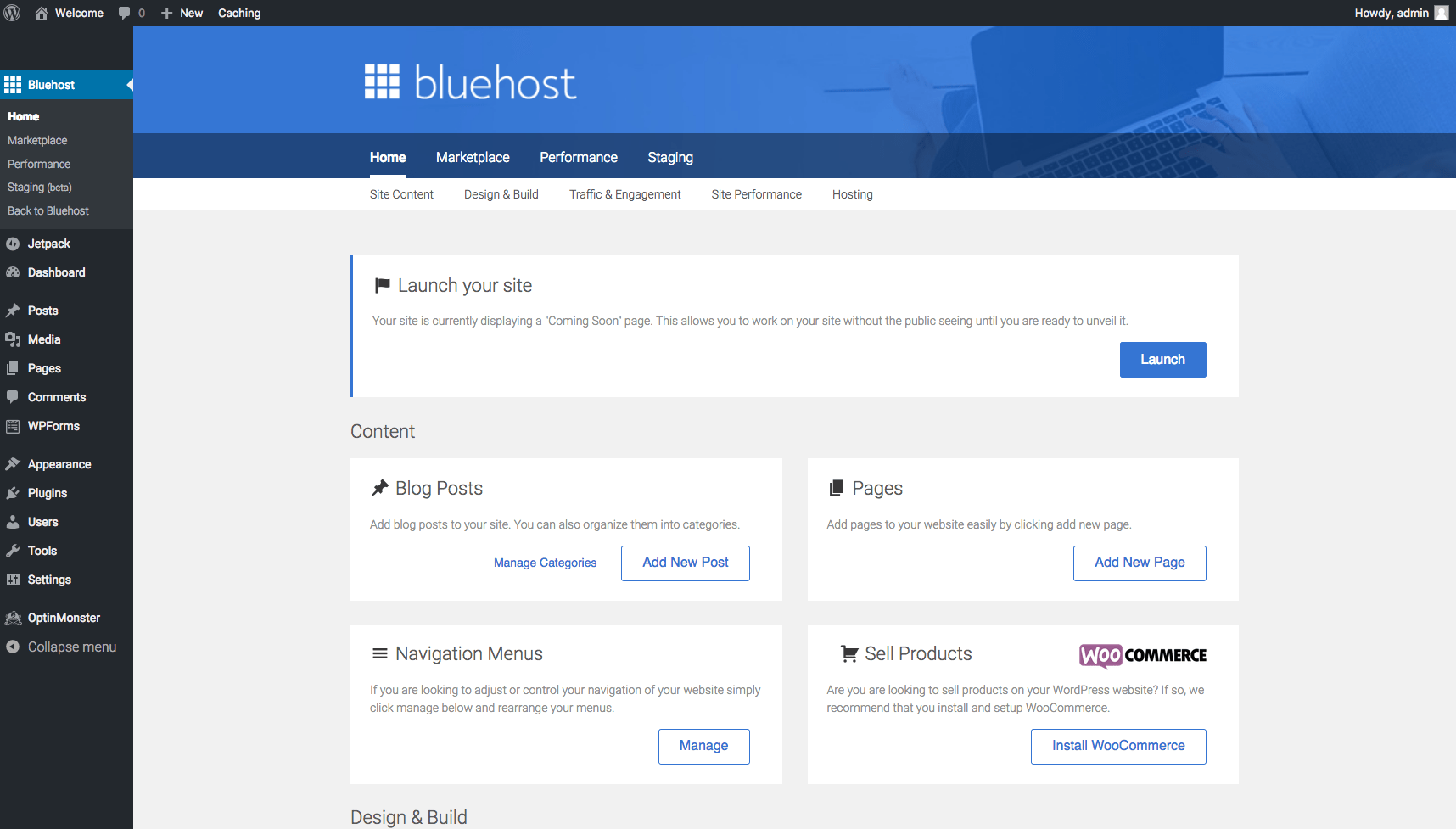 Dashboard via Bluehost