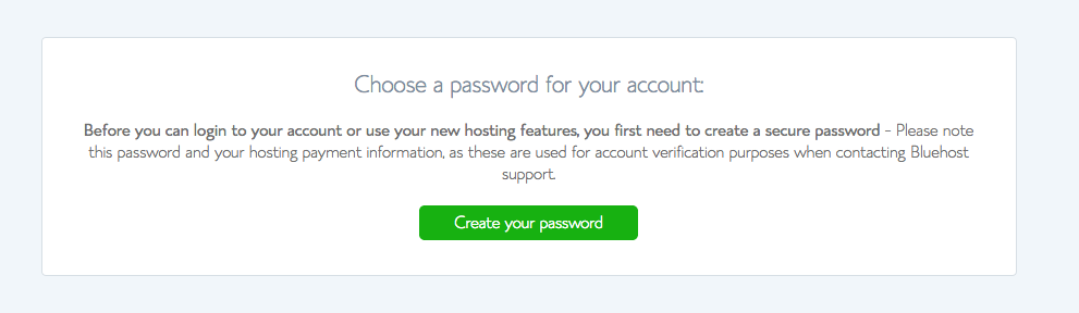 create Password in bluehost