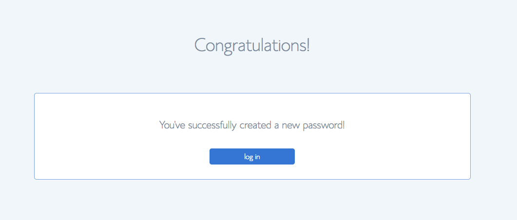 Password creation success