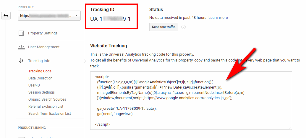 Google analytics tracking ID and Javascript
