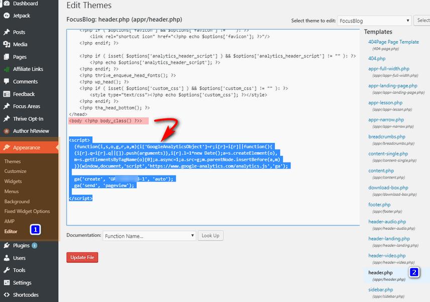 Add Analytics tracking code in Theme header