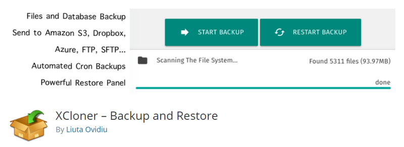 Xcloner Backup and restore plugin