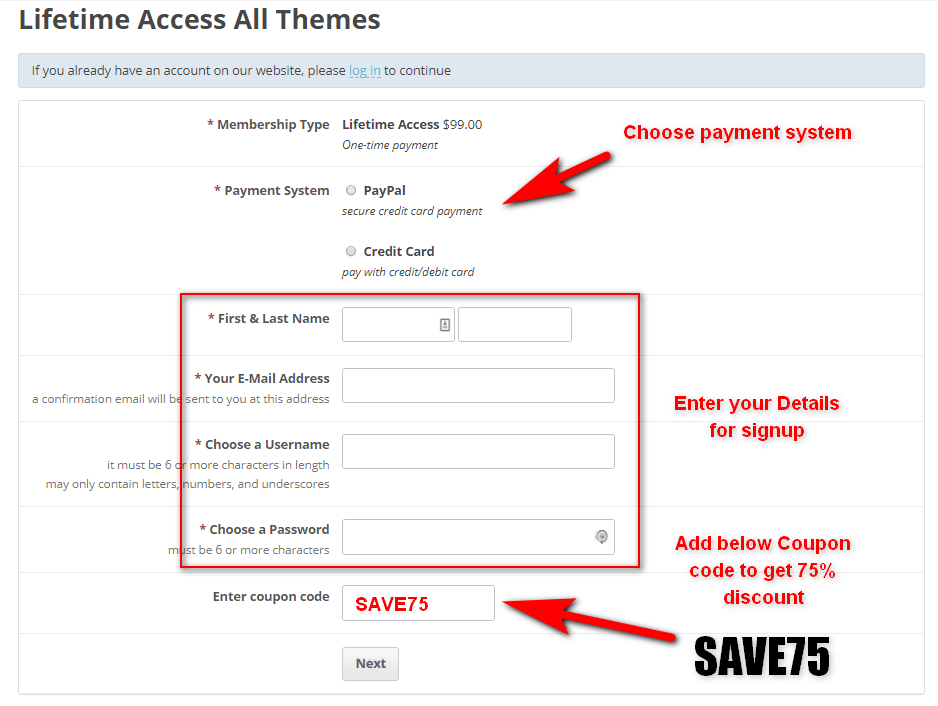 lifetime access payment page