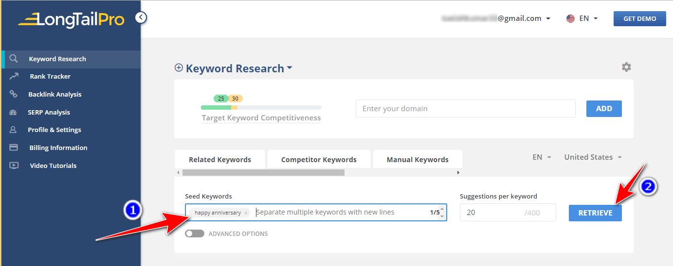Long tail pro keyword research