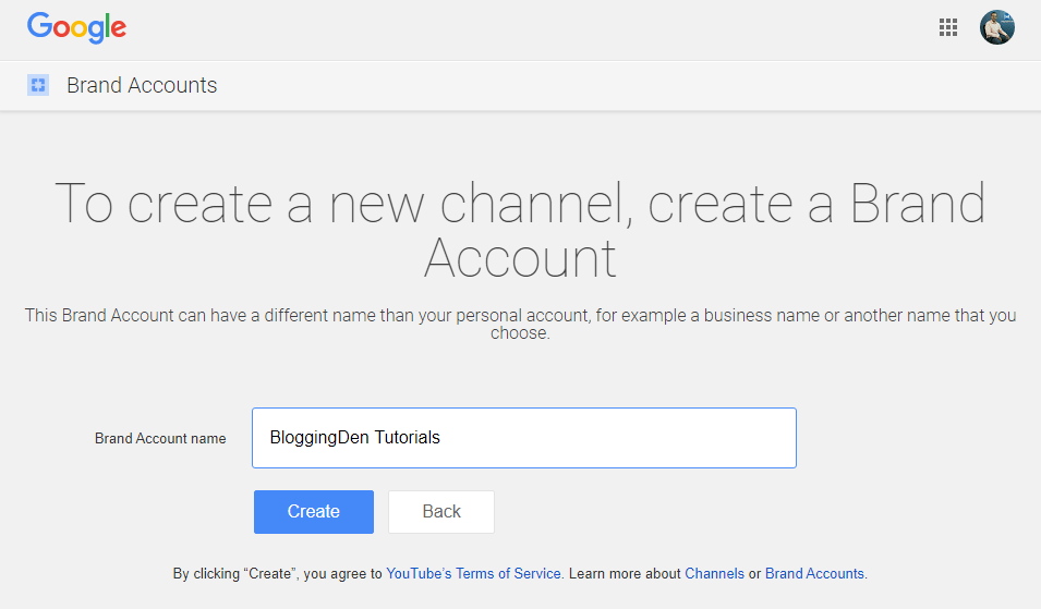 create new channel, create a brand account