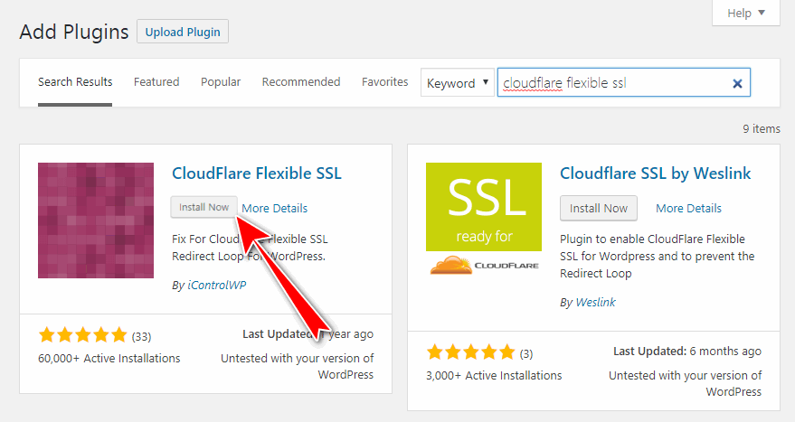 install cloudflare flexible ssl plugin
