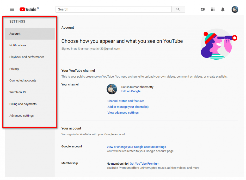 major Youtube settings page