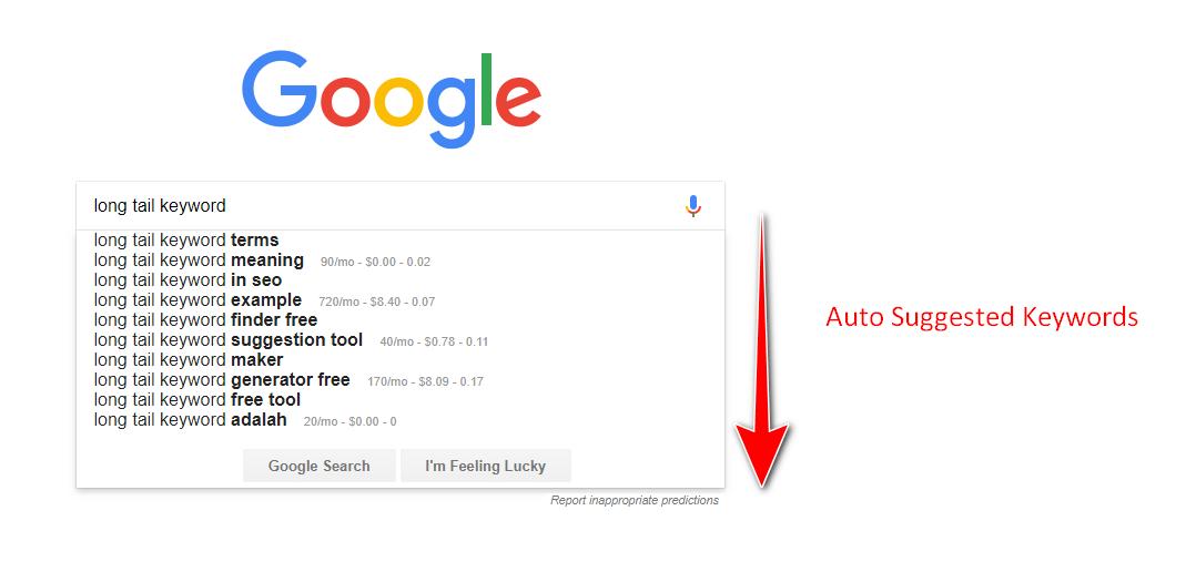google autosuggest tool