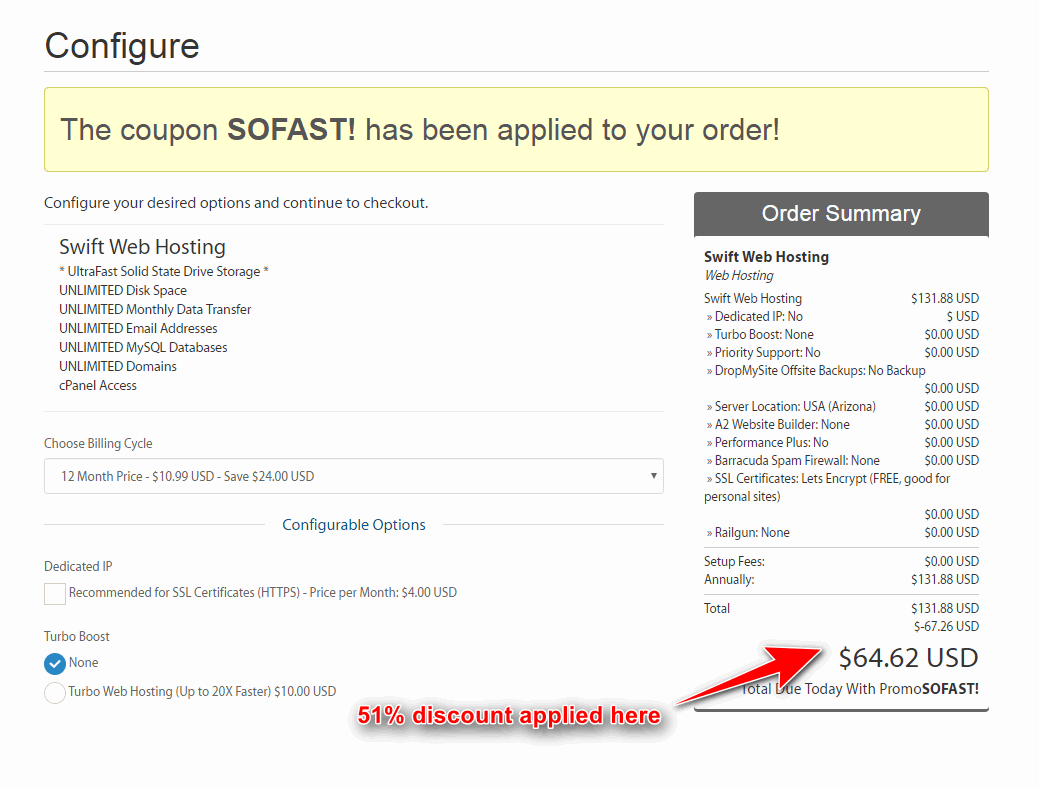 a2hosting discount applied