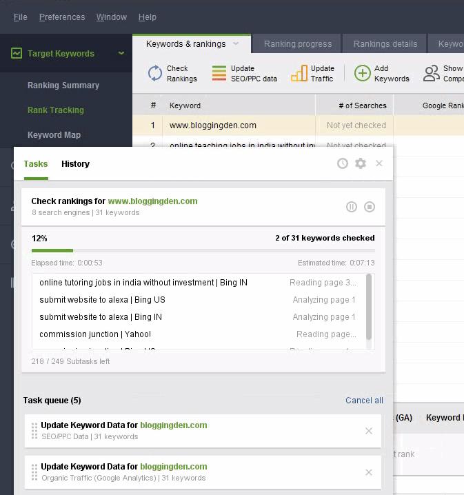 keywords data fetching started