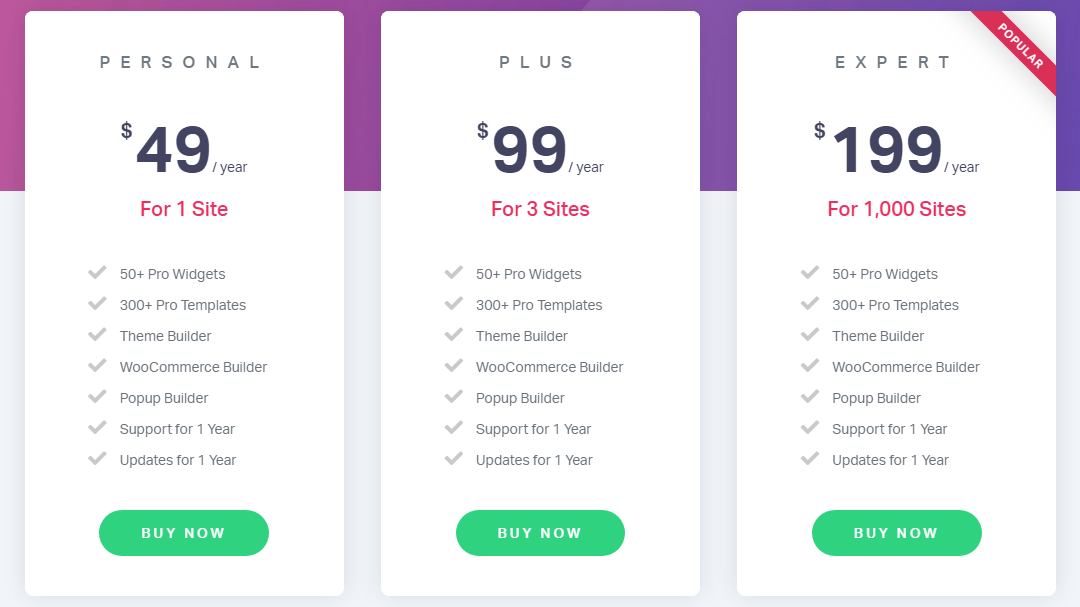 elementor pro plugin pricing