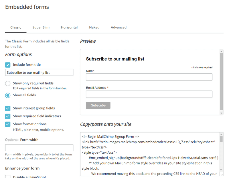 embedded forms settings