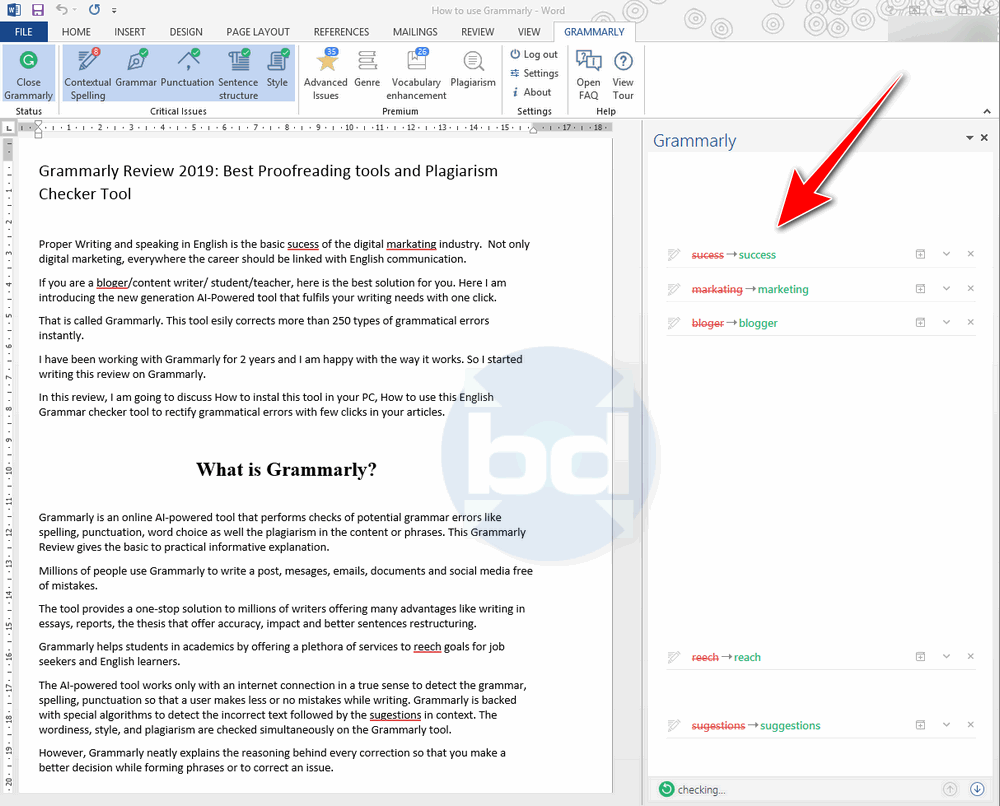 Grammarly working with Microsoft word