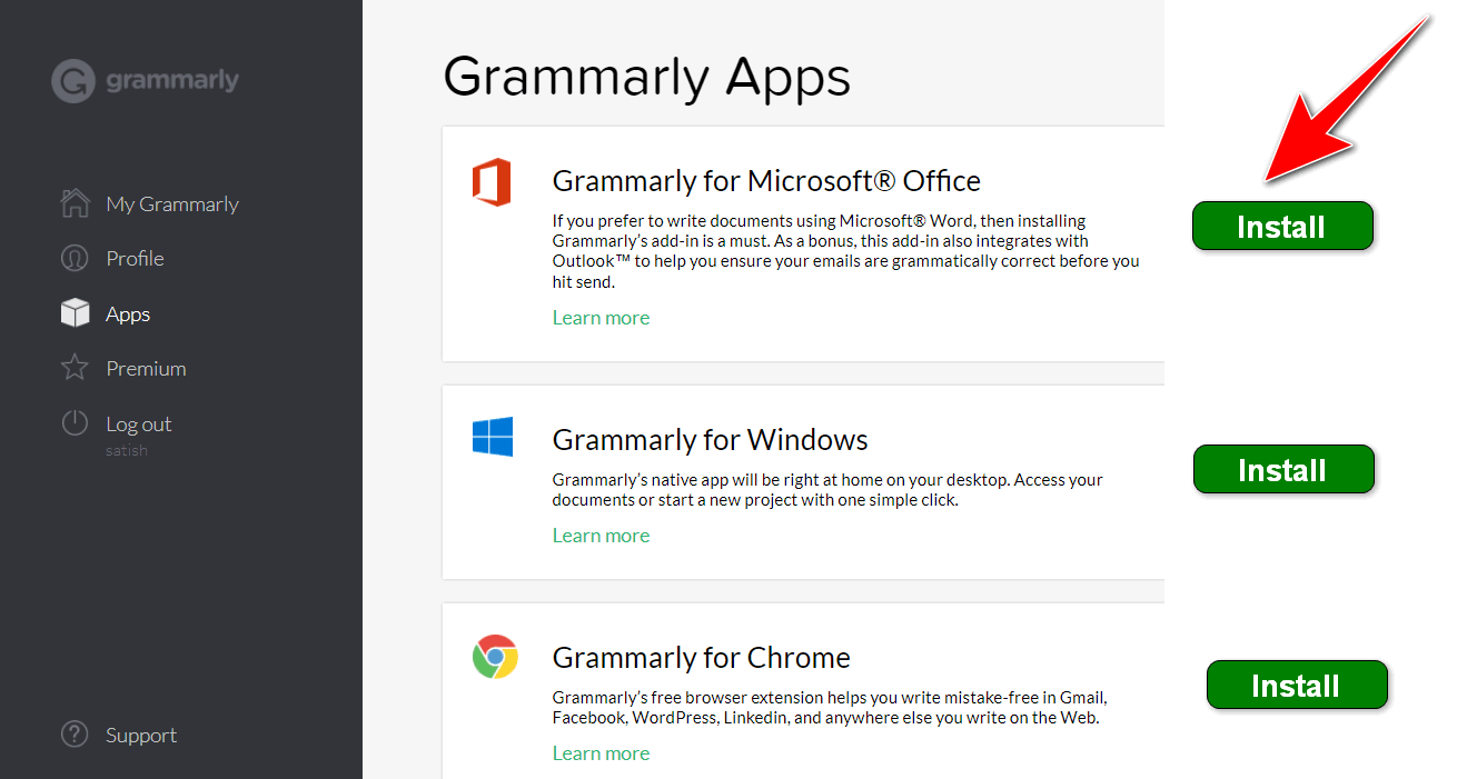 install grammarly in Microsoft Office