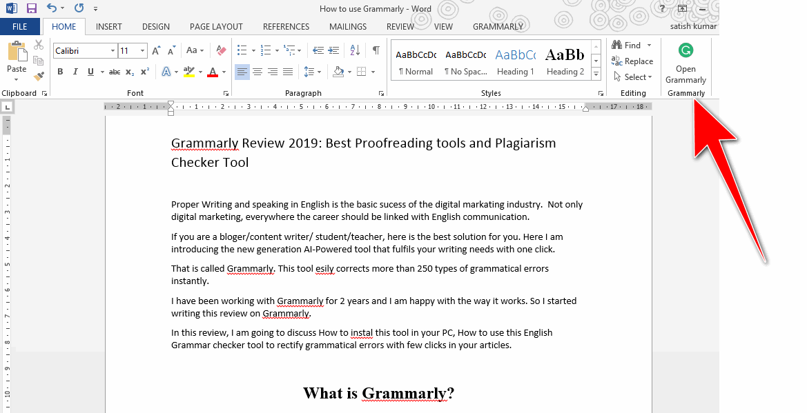 open Grammarly in Microsoft word