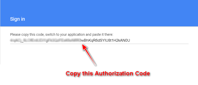 copy the authorization code