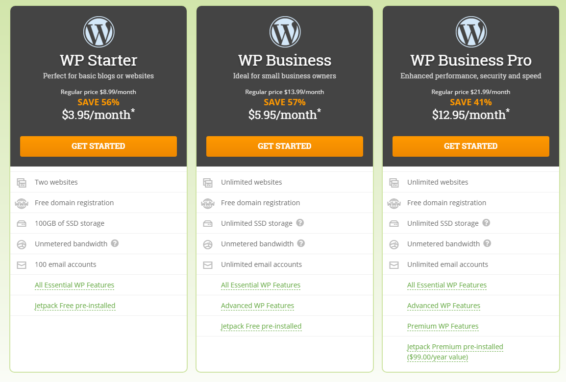 hostpapa wordpress hosting plans