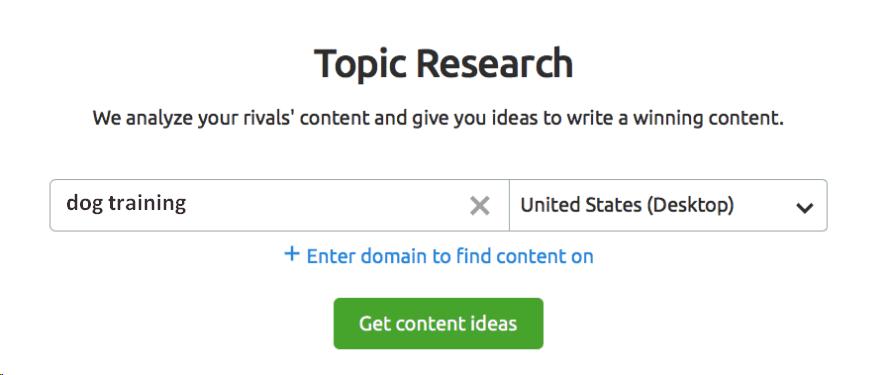 SEMRush Topic research tool