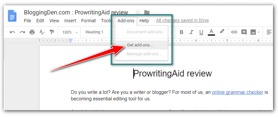 Get addons for Google docs