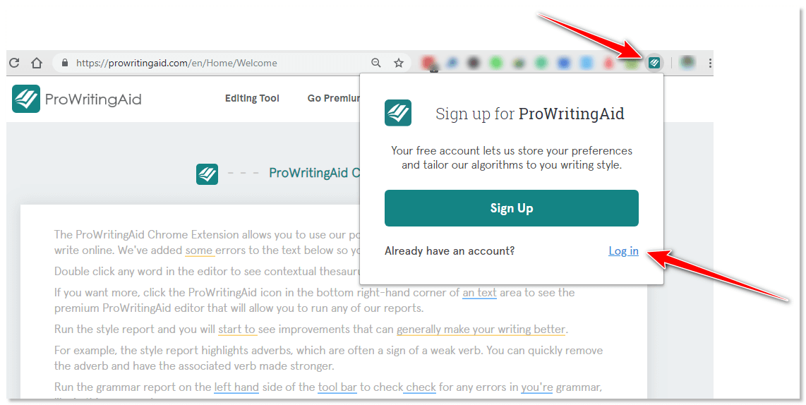 prowritingaid extension login