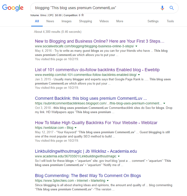 This blog uses premium CommentLuv google results