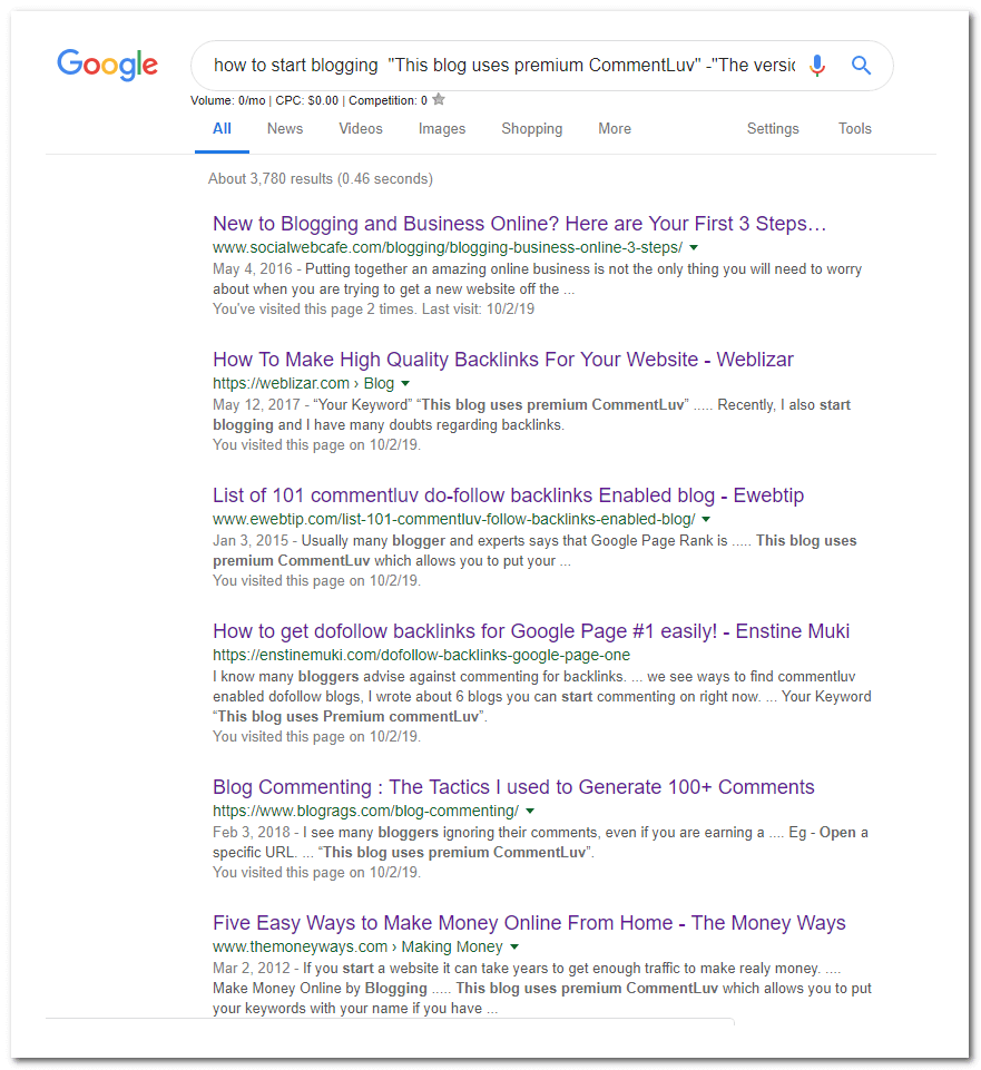 dropmylink result page