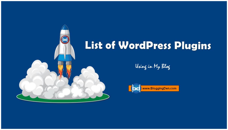 List of wordpress plugins using in bloggingden