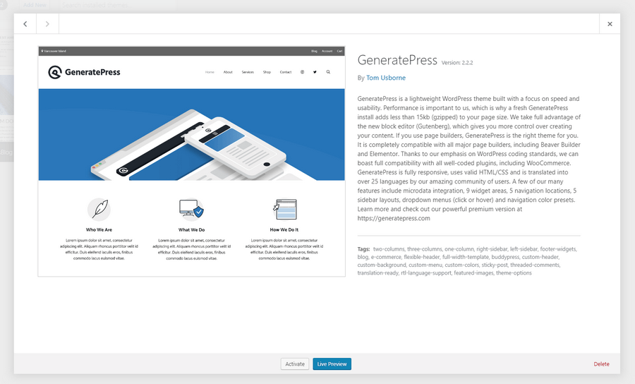 generatepress theme activation