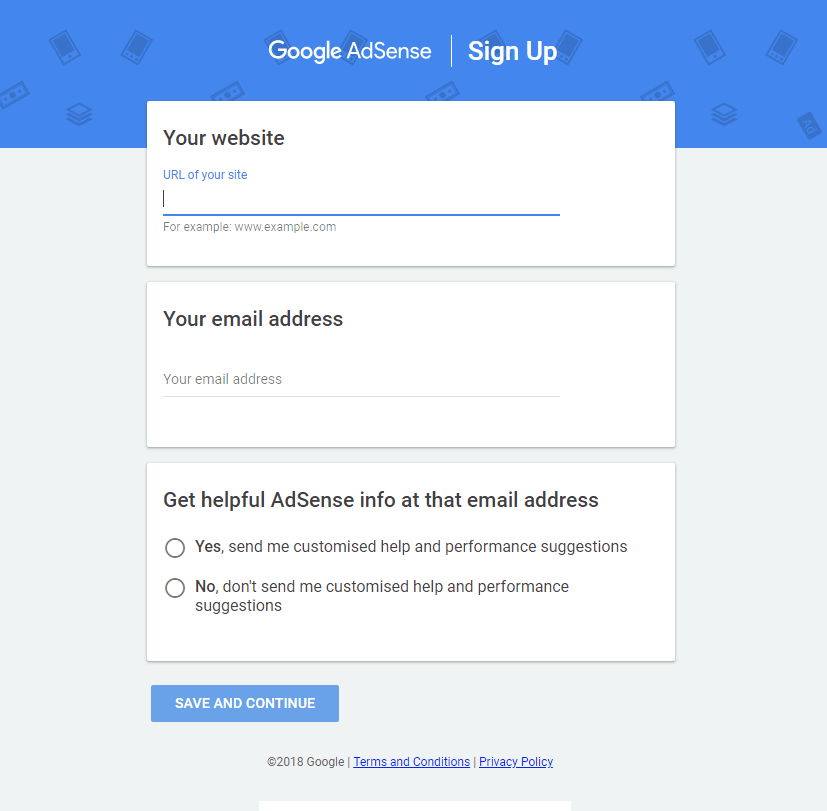adsense signup form 1
