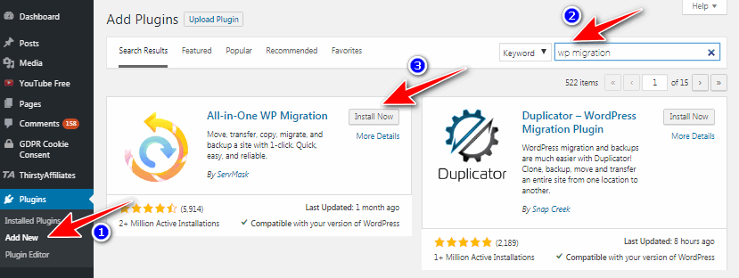 install All-in-one WP Migration plugin