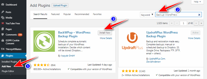 install backup wordpress plugin