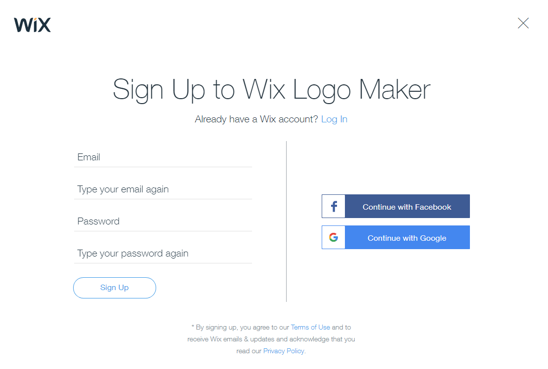 wix logo maker signup