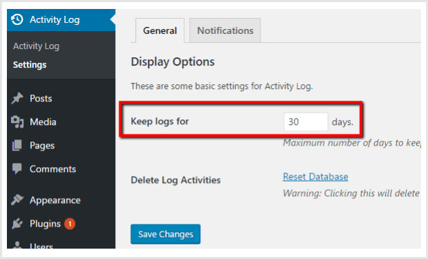 activity log plugin settings