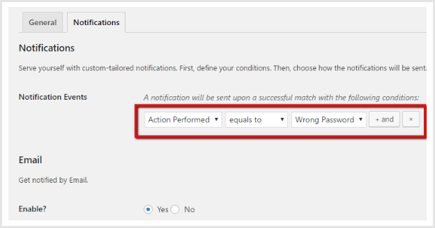 configure notification events in activity logs settings