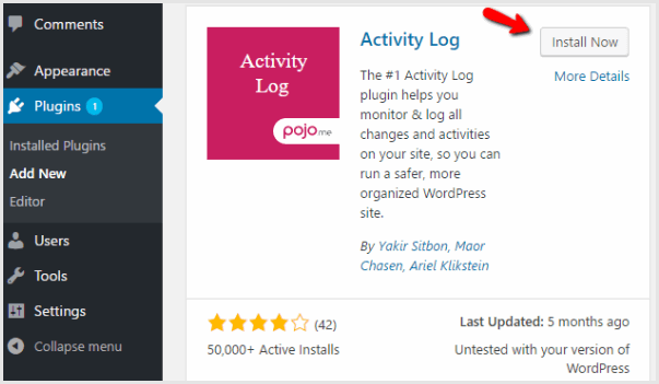 install activity log plugin