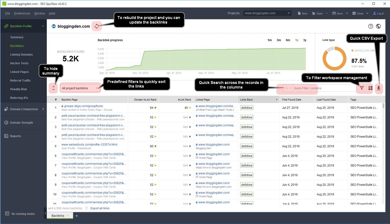 total backlinks interface