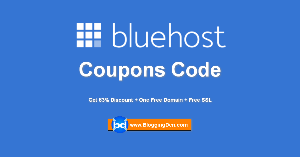 Bluehost Coupon Code 2019 : Save 63% + Get One Free Domain Name
