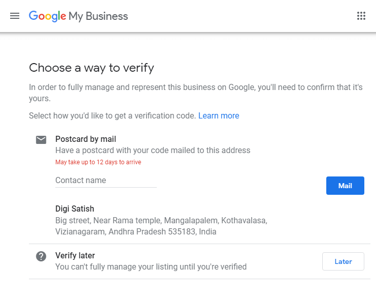 choose a way to verify