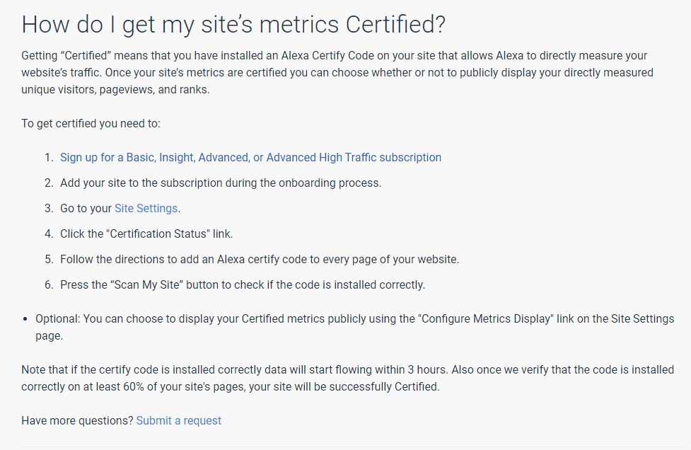 How to get your site's metrics certified