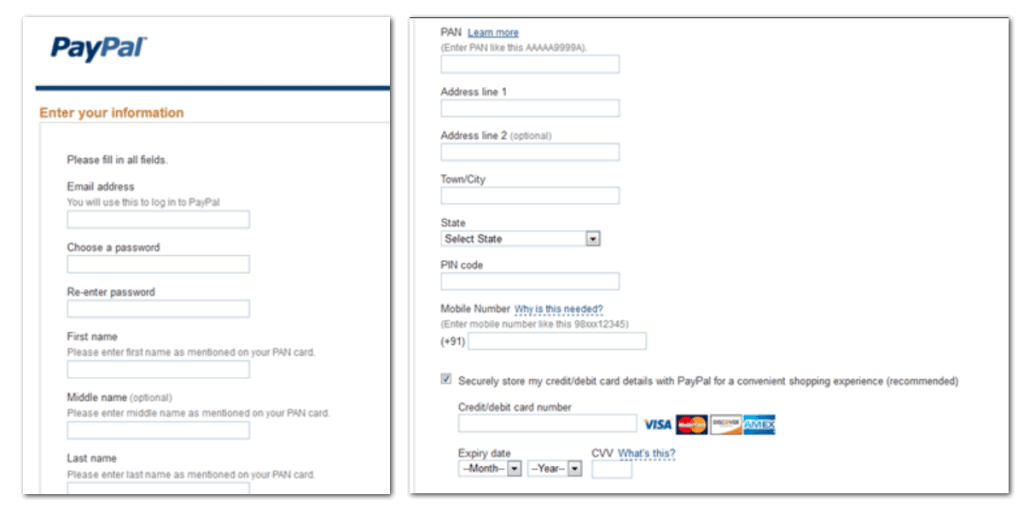 Add your details in paypal sign up form