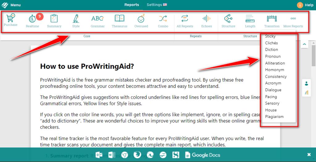 prowritingaid online editor with menus