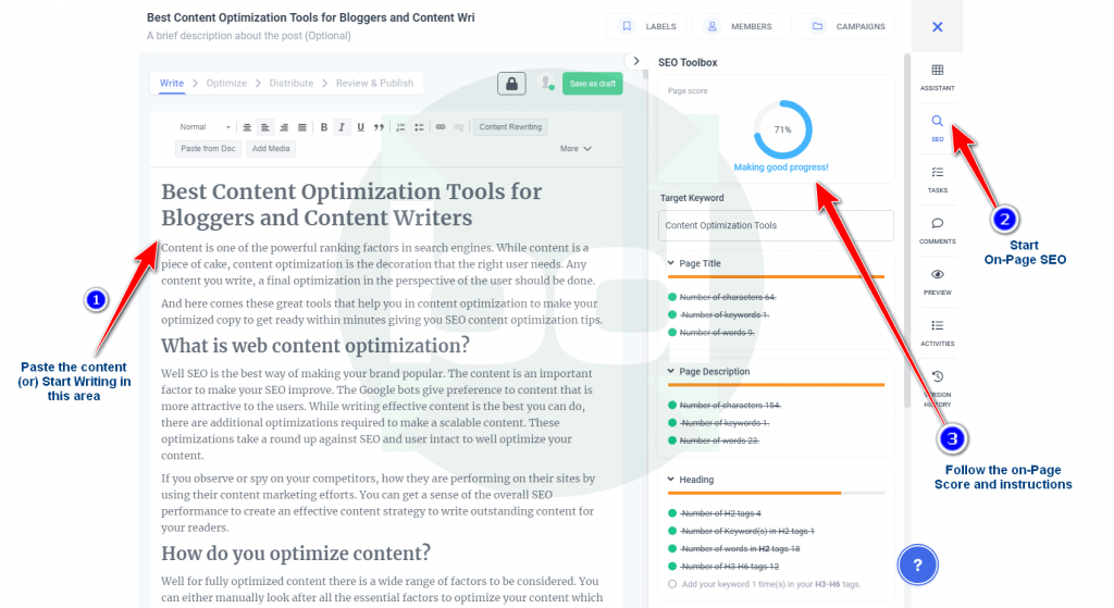 blog post optimization tool and editor
