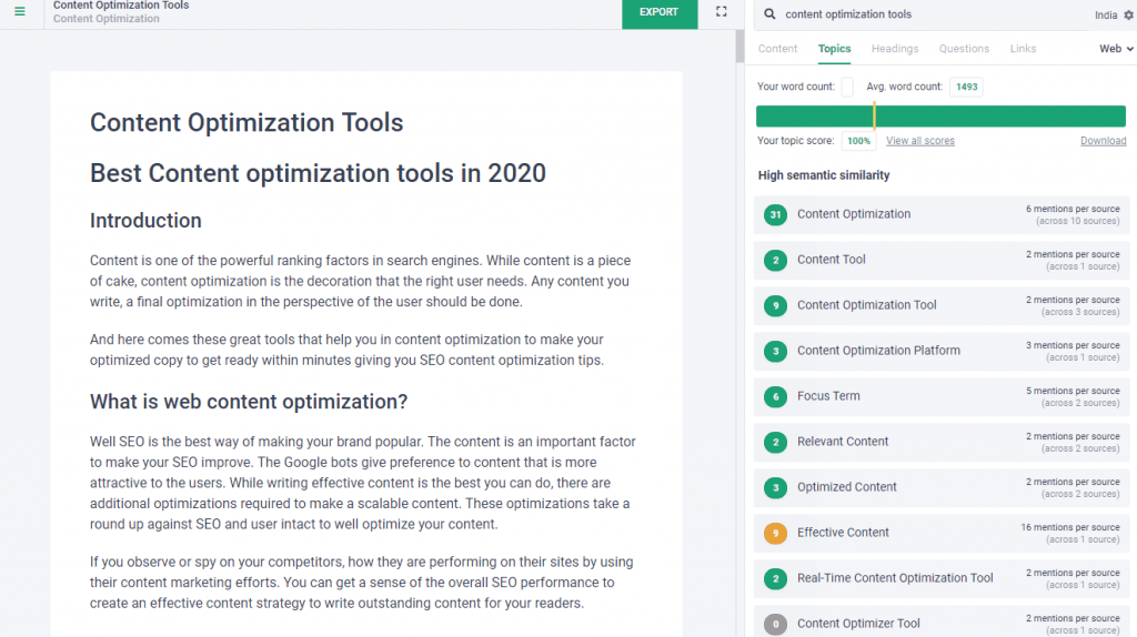 frase content optimization tool box